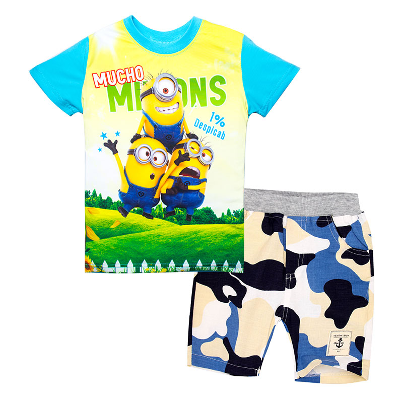 Fashion Children Clothing Set Cartoon Minions T-Shirt+ Pants Quick Drying Summer Sports suit for Boy Clothes Set Casual Outfits