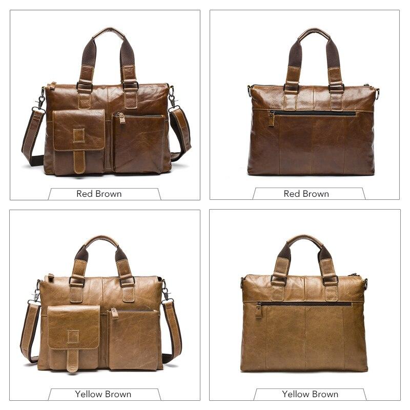 WESTAL biznes mężczyźni teczki na laptopa torba męska torba ze skóry naturalnej dla 14 laptop mężczyzna teczki dokument torby męskie skórzane 260 w Teczki od Bagaże i torby na  Grupa 3
