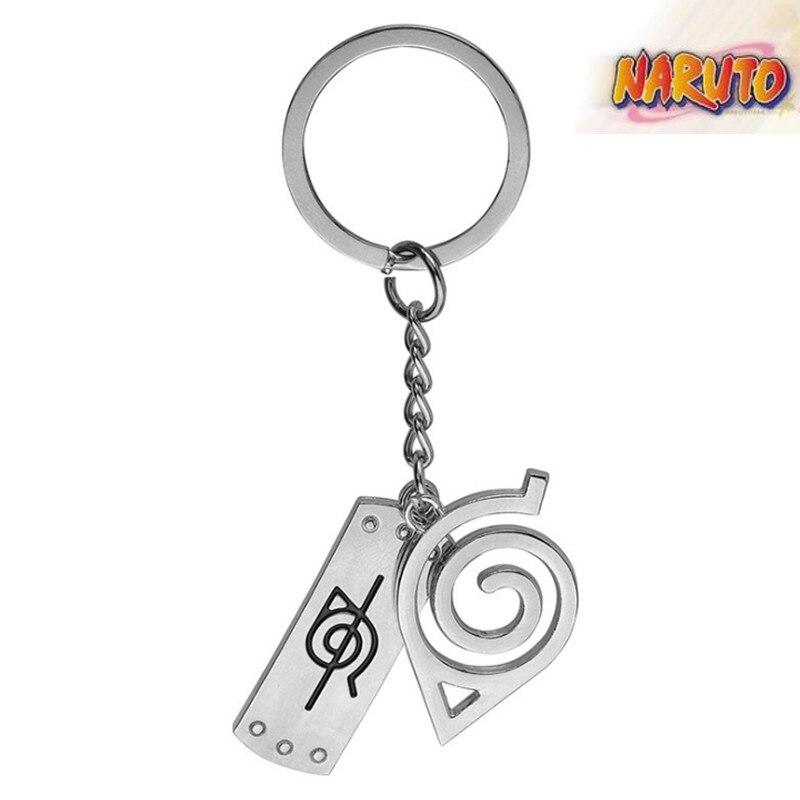 Naruto Uzumaki Naruto Konoha Logo Anime Keychain Metal Keychain Character Accessories(China)