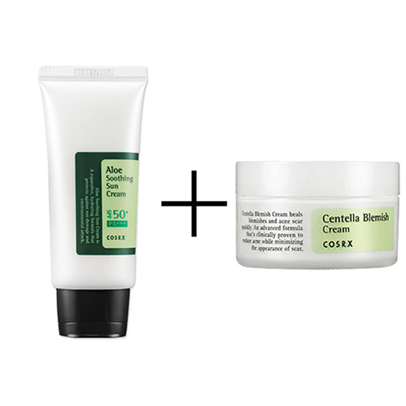 COSRX Centella Blemish Cream 30ml + COSRX Aloe Soothing Sun Cream SPF50 PA+++ 50ml BB Cream Moisturizing Face Cream Skin Care hydra b5 soother 50ml soothing enhancer
