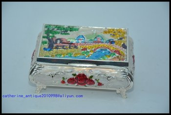 Antique old Chinese silver&Cloisonne Jewelry box,Collection&Adornment,Free shipping
