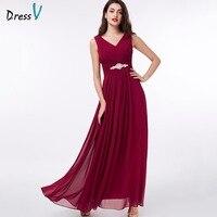 Dressv Evening Dress V Neck Burgundy A Line Beading Prom Party Dress Cheap Zipper Up Black