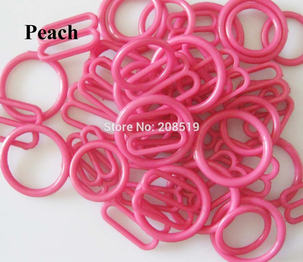 NBNLAE 100 шт. пряжки для бюстгальтера(50 шт. уплотнительное кольцо+ 50 шт. 8 слайдеров) красочные пластиковые пряжки нижнее бельё с пуговицами аксессуары - Цвет: peach as show