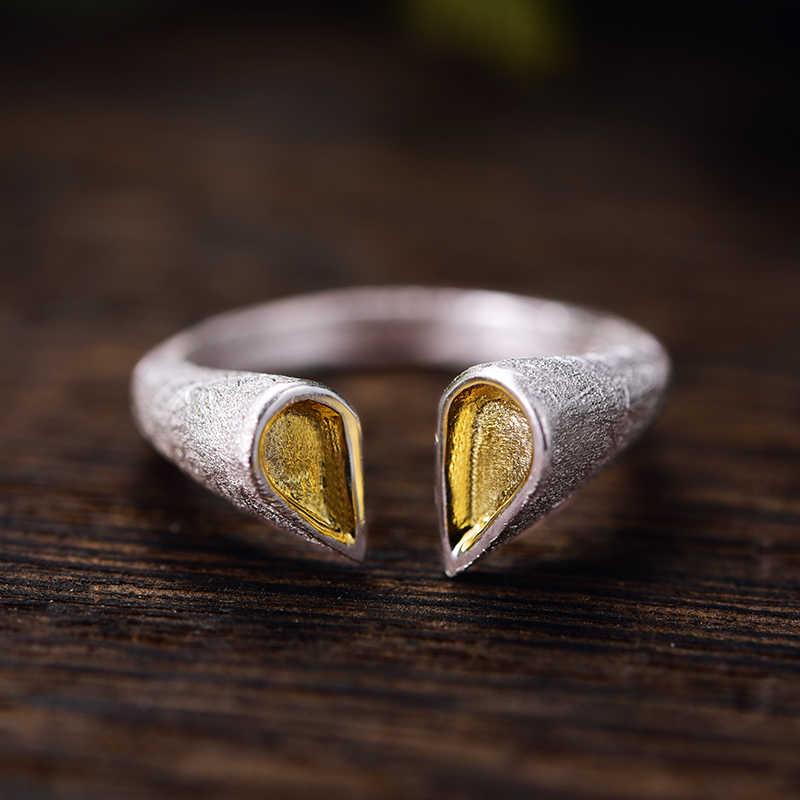 Lotus สนุก Moment จริง 925 เงินสเตอร์ลิงธรรมชาติสร้างสรรค์แฟชั่นเครื่องประดับคุณภาพสูงหัวใจรักแหวนหญิง Bijoux