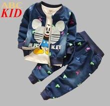 Baby Boys Girls 3pcs Mickey Clothing Sets Cartoon Suits Children Denim Zipper Coat+Denim Pant+T-shirt Boys Jeans Wear KC145