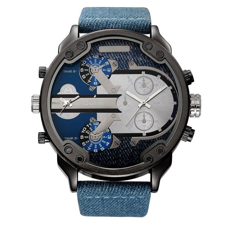 Oulm Denim Blau 2 Zeitzone Quarzuhr Männliche Große Große stil Pu-leder Lässig herren Armbanduhr Top Marke Männer Sport Uhren