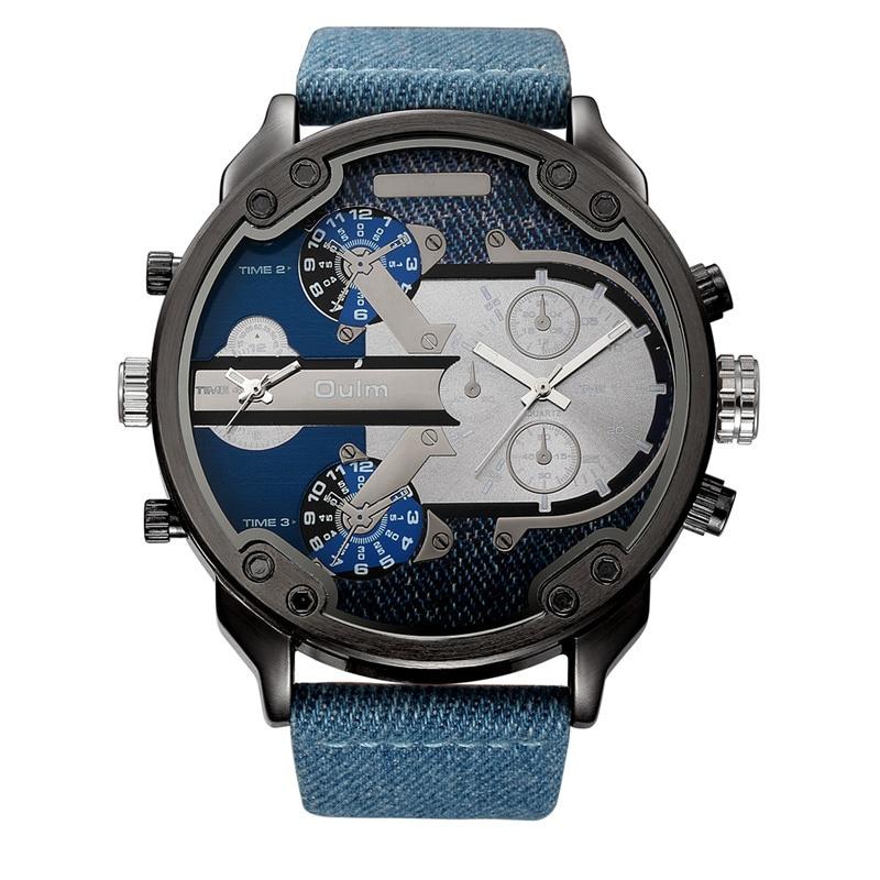 Oulm Denim Blue 2 Time Zone Quartz Watch Male Large Big Style PU Leather Casual Men's Wristwatch Top Brand Men Sport Watches