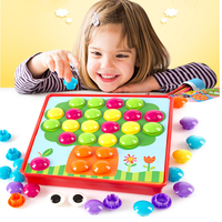 Baby Early Educational Button Art Creative Mosaic Toy Nail Composite Picture Puzzle Mushroom Nail Kit Puzzle