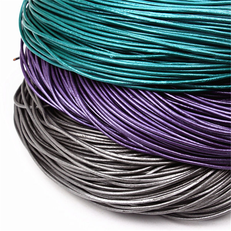 2mm 5M Pearl Real Leather Cords Silver Color Round Genuine Leather Cord/Rope/Thread For Bracelets Necklace Making Jewelry DIY