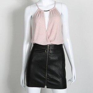 Image 3 - Women PU Leather Skirts Women Sexy Short Black High Waist O Ring Zipper Design Pencil Skirt