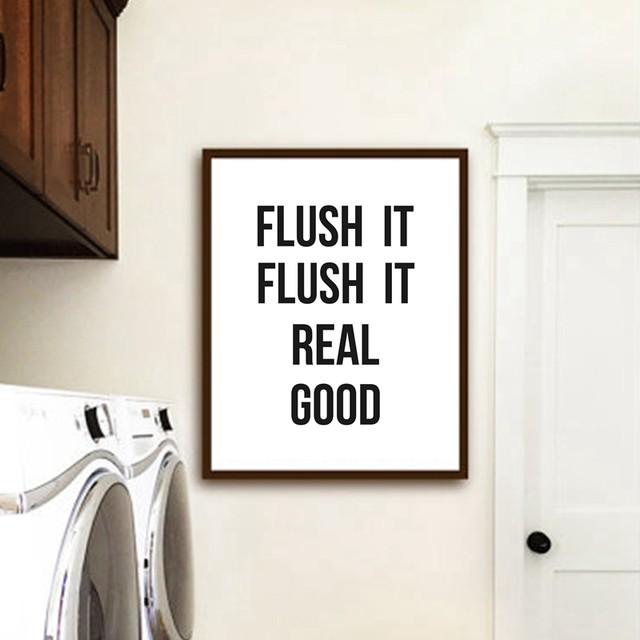 Flush It Real Good Bathroom Wall Art Print , Minimalist Toilet Art Canvas  Painting Laundry Room Bathroom Wall Modern Decor
