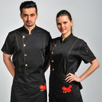 1 Piece Chef Jacket Restaurant Waiter Jean Uniforms Top Cook Service Shirt White Black Blue M