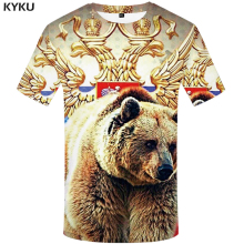 KYKU Brand Russia T Shirt Men Russian Flag T-shirt Bear 3d Mens Clothes Fitness Tshirt Rock Hip Hop 2017 Tee Tops