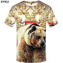 Мужская Фитнес-футболка KYKU, черно-белая футболка в стиле хип-хоп с объемным изображением русского флага и медведя, 2017