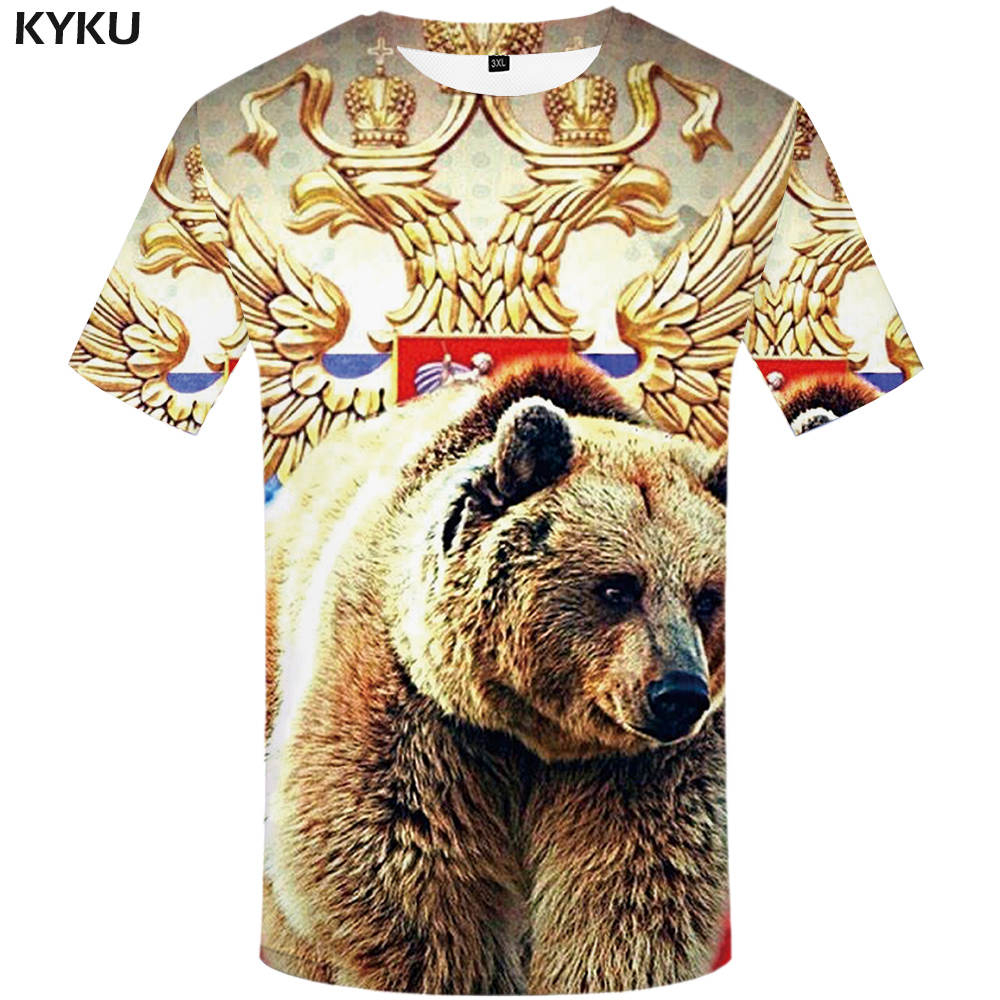 KYKU Brand Russia   T     Shirt   Men Russian Flag   T  -  shirt   Bear   Shirt   3d   T  -  shirt   Mens Clothes Fitness Tshirt Rock Hip Hop 2017 Tee Tops