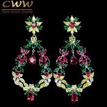 ФОТО beautiful white gold plated 7 cm colorful cubic zirconia large vintage earrings long cz crystal bohemian jewelry earring cz354