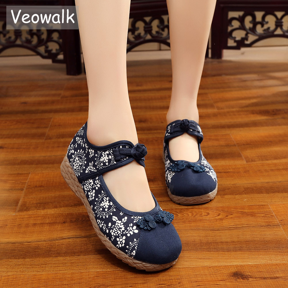 Veowalk Chinese Knot Women's Canvas Flats Retro Ladies Casual Ankle Strap Floral Printed Denim Cotton Fabric Platform Shoes knot hem printed tee