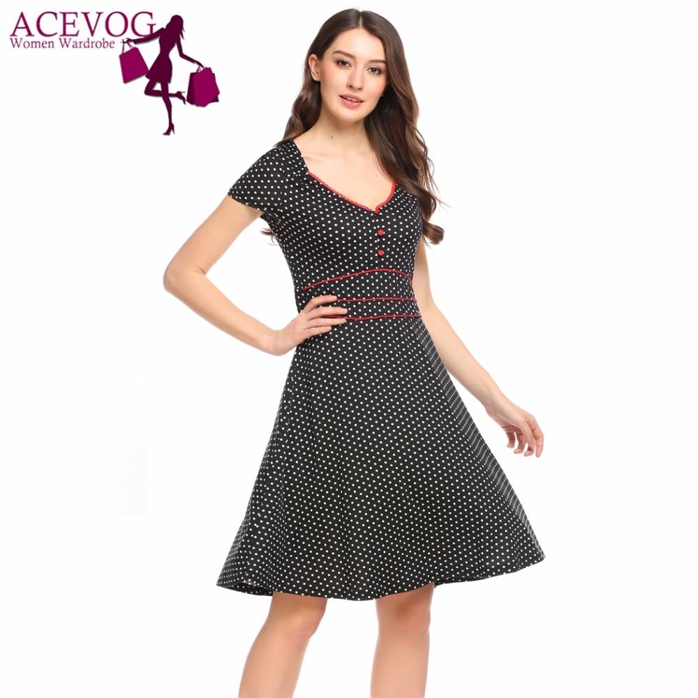 ACEVOG Women Vintage Dress Summer Polka Dot Print V-Neck Short Sleeve Brand Fit and Flare Dresses Party Feminino A-Line Vestidos