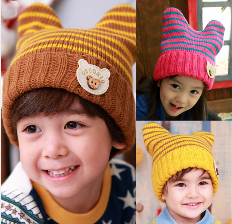 Korean baby children winter hats cute cuffs striped wool hat knitted hat kids horns bear decorated