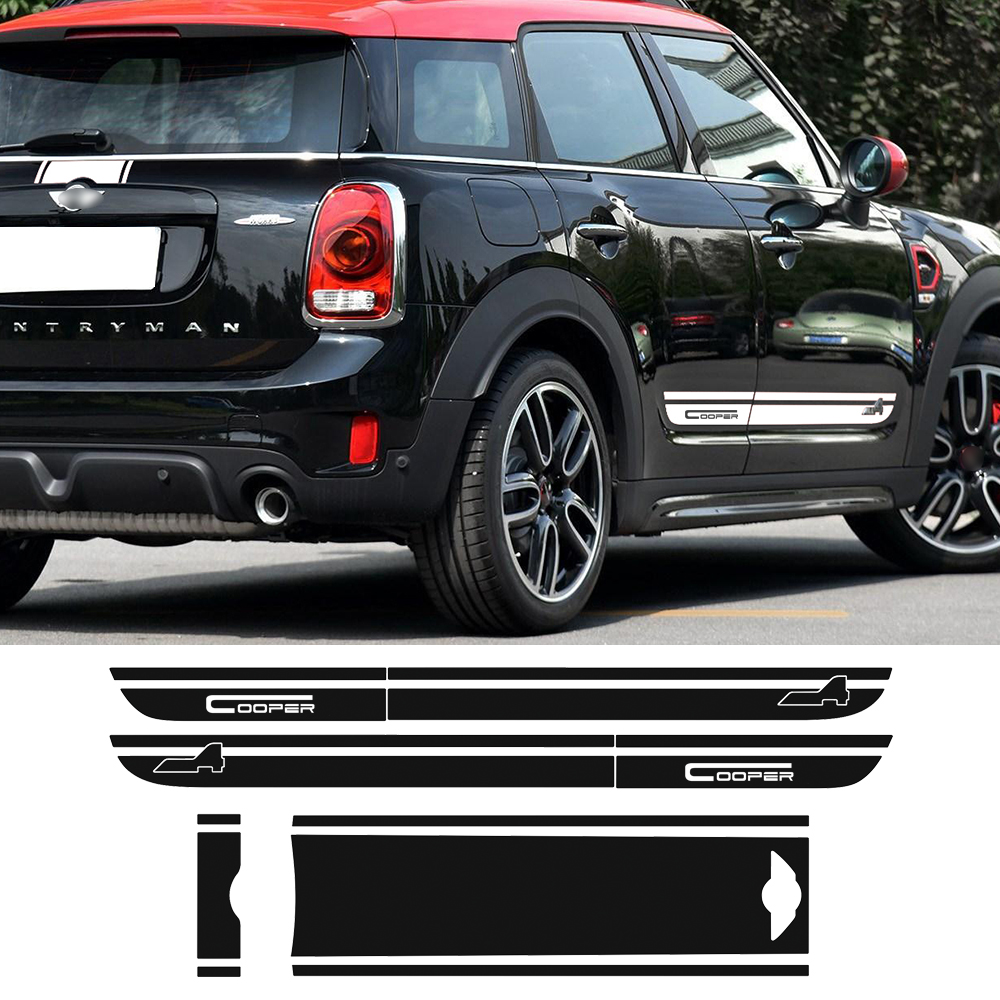 Hood Trunk Engine Rear Side Stripes Decal Sticker Decor Kit Set For BMW Mini Cooper All4 Countryman F60 2017-Present Car Styling car racing door side stripes skirrt sticker sport all4 graphic auto vinyl decal for mini countryman r60 car styling accessories