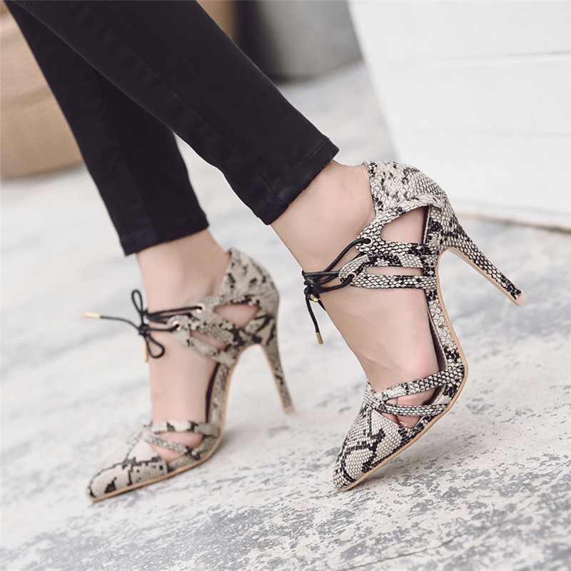 new women high heel pumpsSnakeskin fashion sexy party shoes thin heel slip on wedding heels brand RUIDENG high quality 10cm