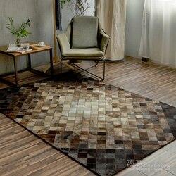 2018 nowy szycia ręcznego skóry wołowej prostokąt dywany  salon dywaniki do sypialni  Sofa geometryczne niestandardowe duży dywan. w Dywany od Dom i ogród na