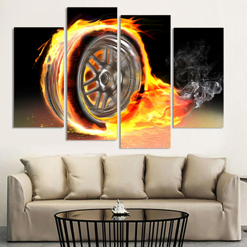 4 Piece Home Decor Oil Painting Tire HD Print on Canvas Wall Art Picture for Living Room Christmas Gifts