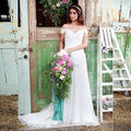 Country Western Simple Beach Wedding Dresses 2017 LORIE Vestido De Novia Sirena Boat Neck Chiffon Bridal Gowns Dresses