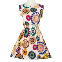 HOT! 2016 new 20 Styles Women casual Bohemian floral leopard sleeveless vest printed beach chiffon dress