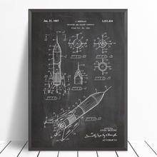 Cohete barco patente Vintage Poster arte de pared impresiones espacio exterior nave espacial Blueprint lienzo pintura pared imágenes arte Decoración