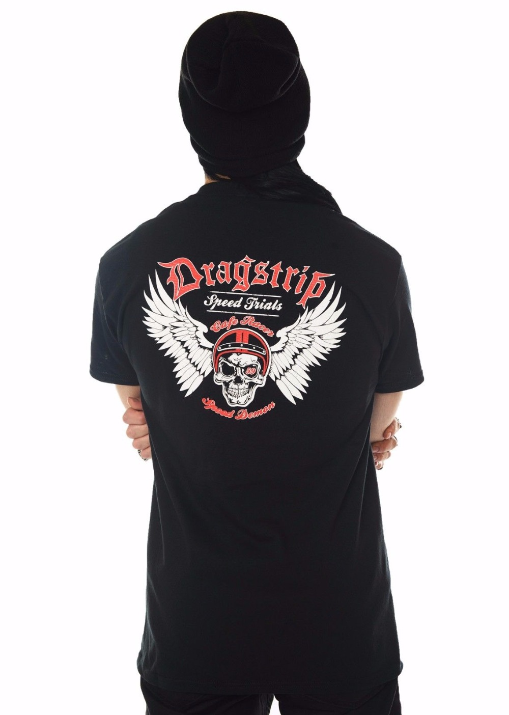 2018 New Brand T Shirt Men Short Sleeve Funny Mens Black Speed Demon Cafe Racer Skull Wings Biker slim Fit Tee Shirts