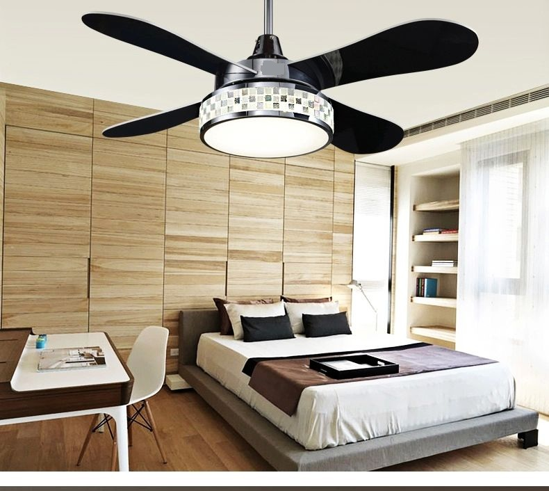 Four Leaves Of Color Change Lamp Fan Ceiling Lights LED Continental Living Room Bedroom Dining