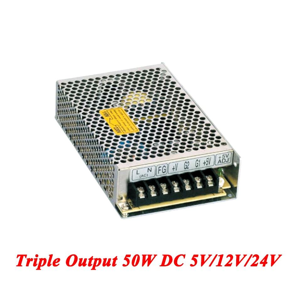 T-50D Triple output DC power supply 50W 5V 12V 24V,smps power supply for led driver,AC110V/220V Transformer to DC 5V 12V 24V single output uninterruptible adjustable 24v 150w switching power supply unit 110v 240vac to dc smps for led strip light cnc