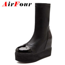 Airfour Mid-Calf Stretch Fabric women boots new wedges snow boots fashion big size 34-43 black platform boots Martin shoes new