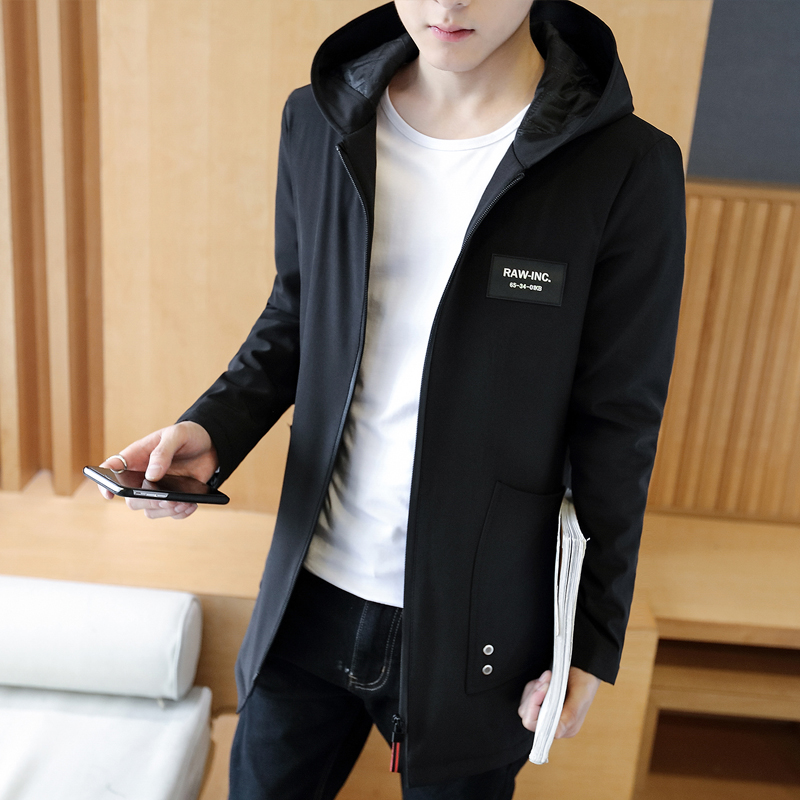 The new spring 2017men hooded pure color trends in the fashion long jacket navy black big