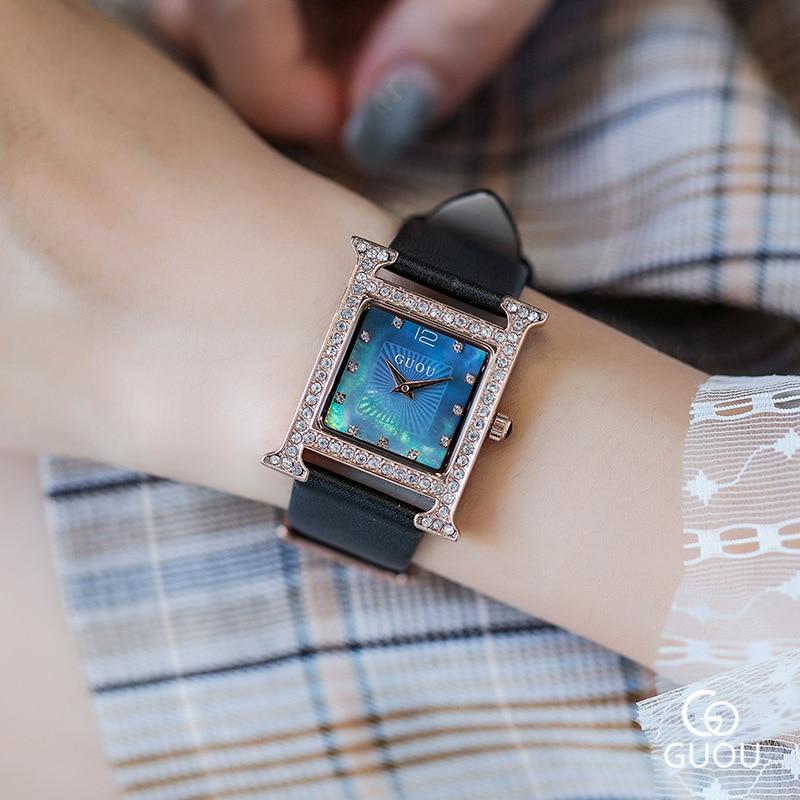 Top Brand Rhinestone Crystal Quartz Women Watches Women Diamond Square Casual Watch Luxury Ladies Watch Clock horloges vrouwen in Women 39 s Watches from Watches