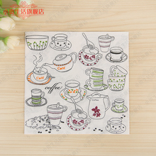 Min Order is $5,Food-grade Floral Paper Napkins Food Festive & Party Tissue coffee Decoupage Decoration 33cm*33cm