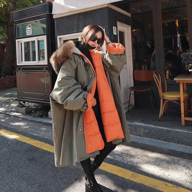 Большой натуральный мех енота 2018 новый длинный пуховик женский свободный теплый плюс размер пальто с капюшоном зимняя куртка женская белая утка пуховик