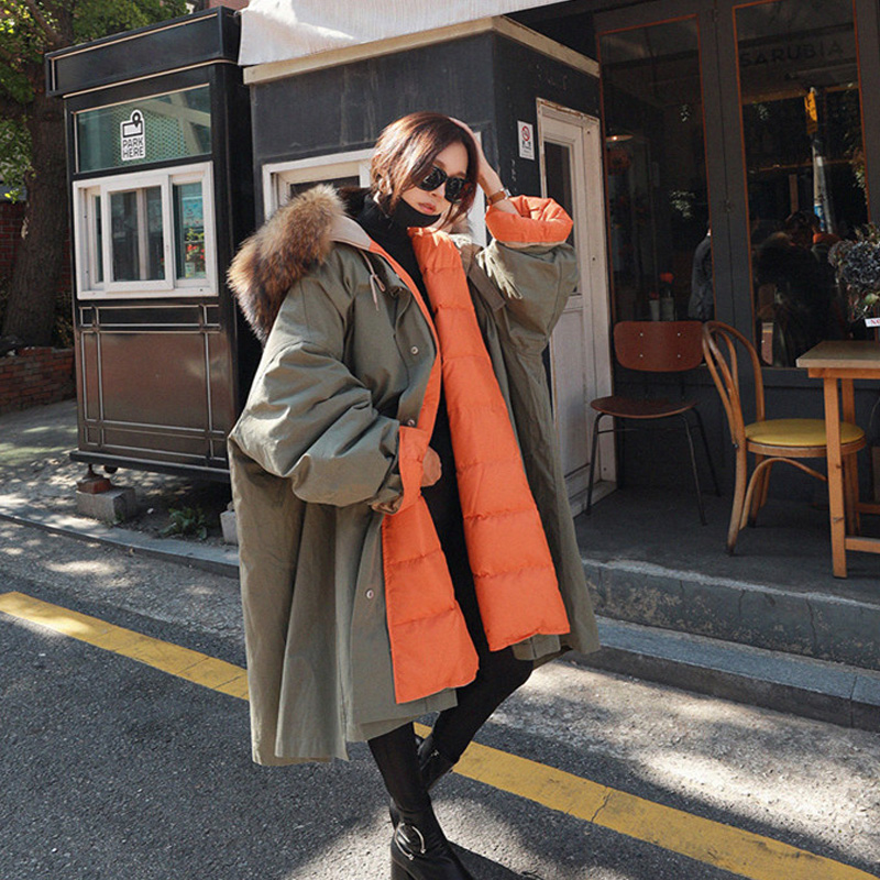 BIg Real Raccoon Fur 2018 New Long   Down   Parka Female Loose Warm Plus Size   Coat   Hooded Winter Jacket Women White Duck   Down   Jacket