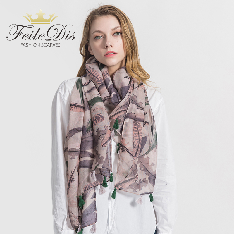 [FEILEDIS]2019 Fashion Cotton scarf Women Wrap Designer Scarves Autumn And Winter Women scarf luxury brand shawl MA1737