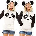 Nova Luva Longa Das Mulheres Panda Ear Capuz Casaco Moletom Com Capuz Casuais Pullover Topos