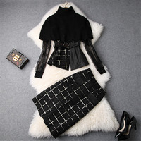 Turtleneck Cloak Sweater Lace Top+Plaid Pencil Skirt Suit Set 2018 Autumn Fashion Women's 3Pcs Clothing Set Vintage Outfits