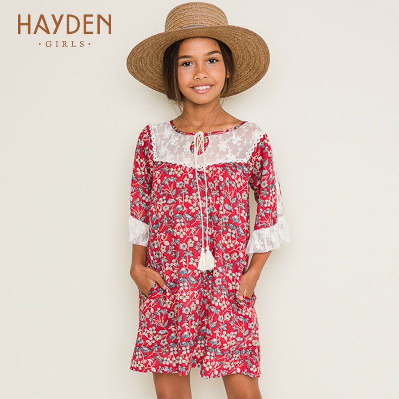 HAYDEN flower girl dresses lace summer spring 8 9 10Y princess costume teenage clothes for girls 13 years teens fashion clothing hayden girls boho ethnic dress designs teenage girls national embroidered dresses flare sleeve loose fit dress for 7 to 14 years