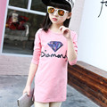 Kids costumes Girls t-shirt Girl lengthen t shirt Sequin embroidery long sleeve T-shirt children clothes Roupas Infantis Menina