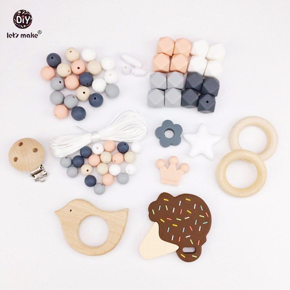 Zróbmy gryzak dla niemowląt akcesoria silikonowe kulki lodu krem drewniany ptak smoczek klip DIY biżuteria opieki ząbkowanie naszyjnik