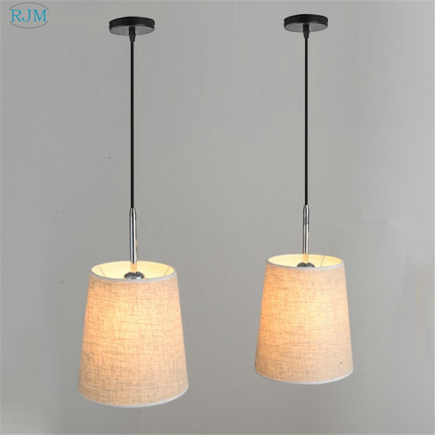 Modern Creative Fabric Lampshade Pendant Lights Simple Round Hang Lamps for Living Room Dining Room Kitchen Light Fixtures DecorModern Creative Fabric Lampshade Pendant Lights Simple Round Hang Lamps for Living Room Dining Room Kitchen Light Fixtures Decor