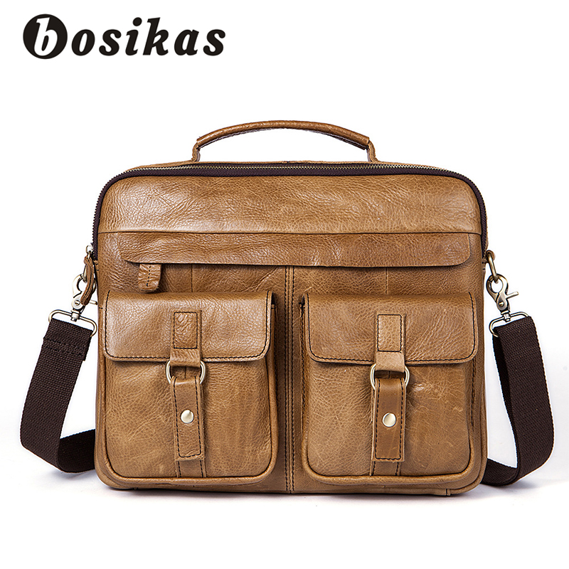 BOSIKAS NEW Men Bag Briefcases Genuine Leather Crossbody Bags Messenger Totes Leather Handbags Laptop Bag Zipper Shoulder Bags black genuine leather men bag laptop briefcases handbags men shoulder bag strap crossbody bags messenger bags men leather totes