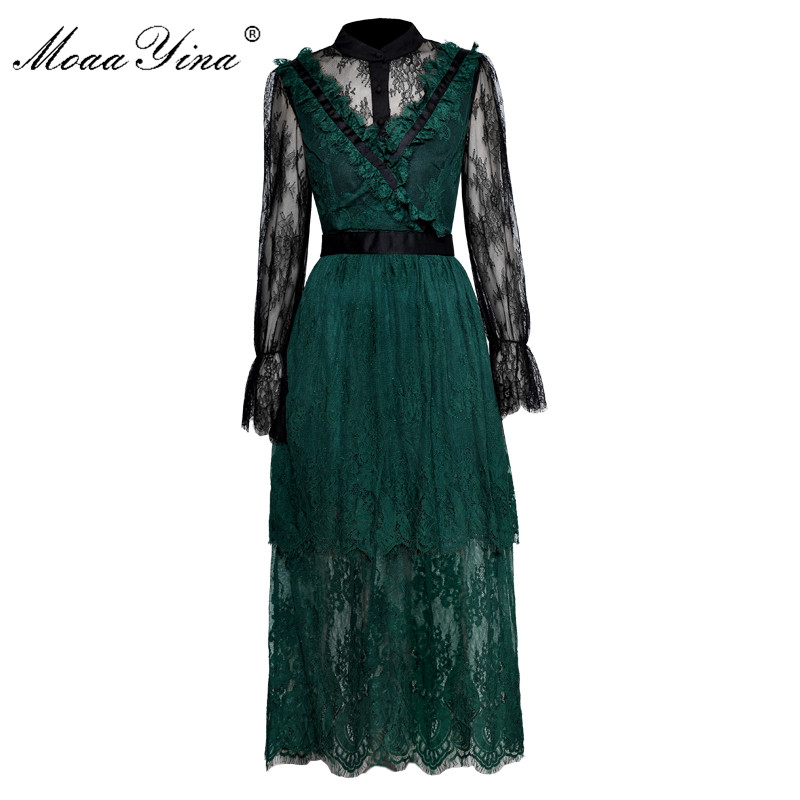 MoaaYina Fashion Designer Runway Lace Dress Spring Autumn Women Flare Sleeve Mesh Embroidery Vintage See Through Lace Dress