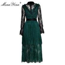 купить MoaaYina Fashion Designer Runway Lace Dress Spring Autumn Women Flare Sleeve Mesh Embroidery Vintage See through Lace Dress по цене 3708.57 рублей