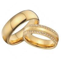 Пользовательские Титановые фианит для украшений Кубический Цирконий обручальные кольца обещают наборы золотого цвета alliance